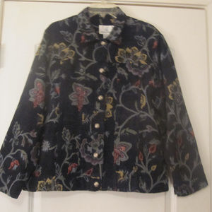 Erin London Womens Black Floral Pattern Jacket XL
